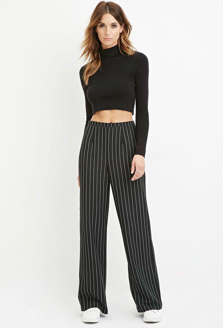 d7cbec0e171de Pinstripe Wide-Leg Pants - Clothing - 2000179824 - Forever 21 EU English