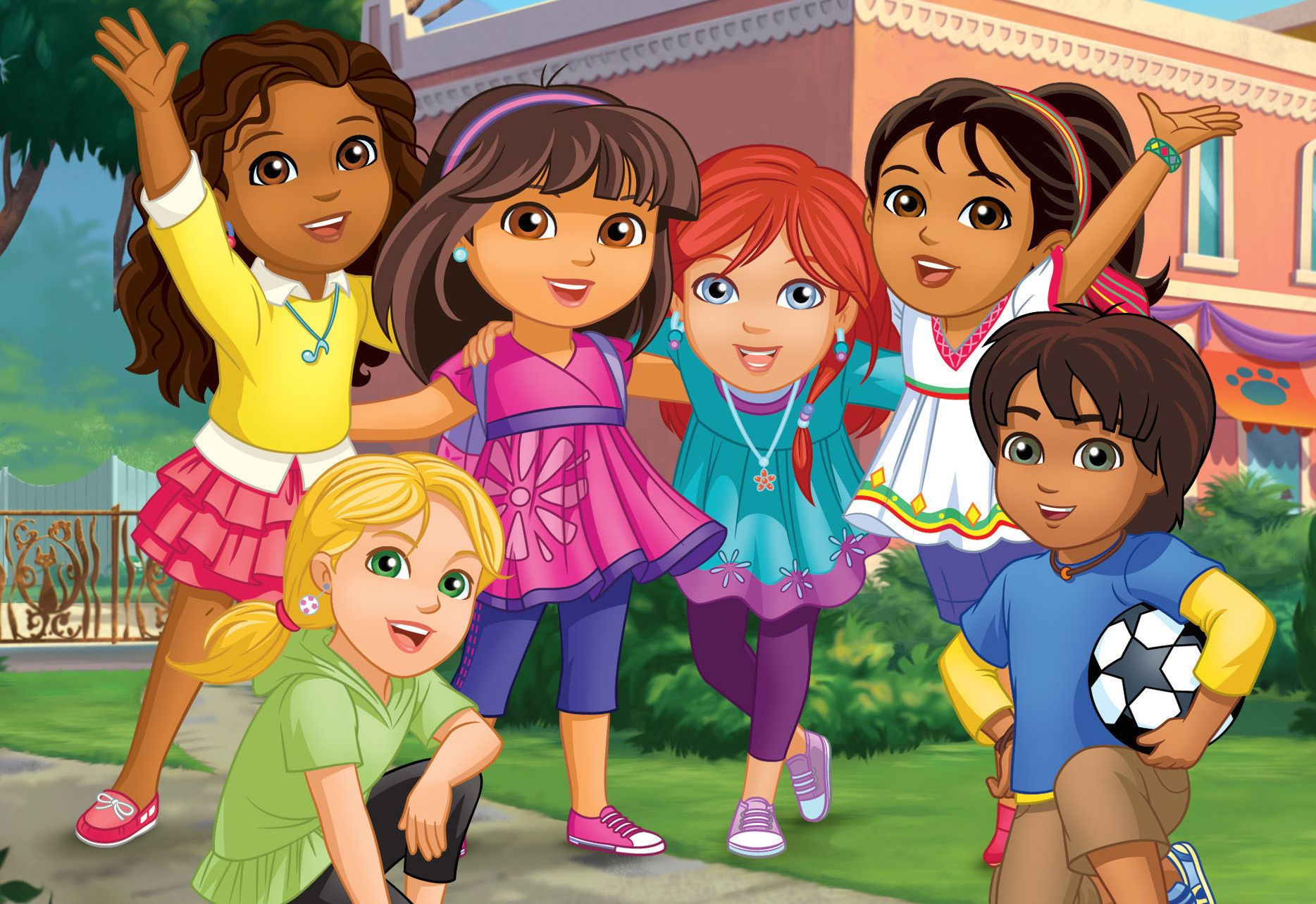 Picture only Inspiration for birthday cake Dora and Friends into