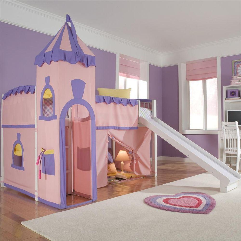 Kids Bedroom Slide school house twin princess low loft bed with slide bedroom girl