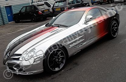 McLaren SLR wrapped in an amazing mirrored printed foil wrap