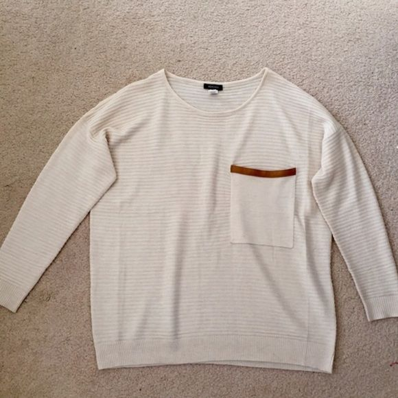 Cream Sweater with Leather Pocket never worn. Urban Outfitters Sweaters Crew & Scoop Necks