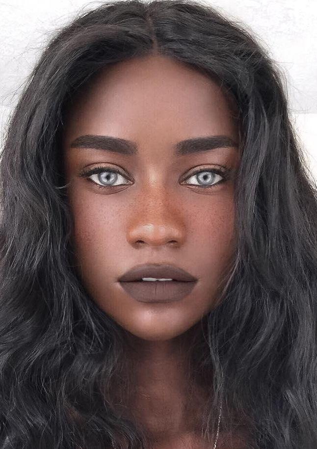 Black Black Hair Light Eyes Grey Eyes Retrato De