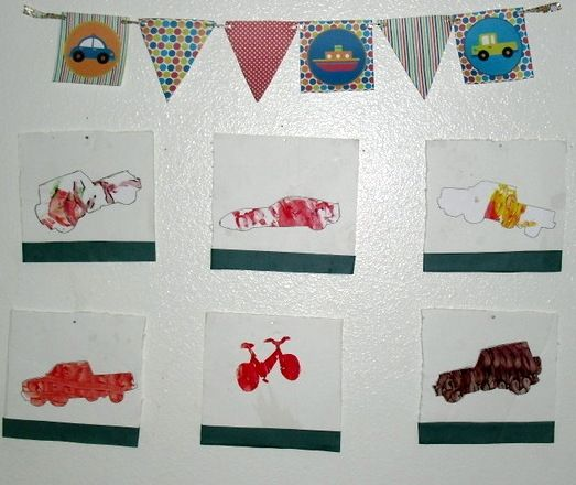 For Jason's birthday, we fingerpainted, so we printed transportation stencils on cardstock and used them to trace fun vehicles out of the fingerpaintings for his bedroom art.