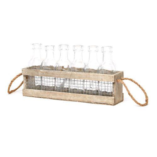 6 Bottles In Wood Box // $12.99 Modern Farmhouse- Home