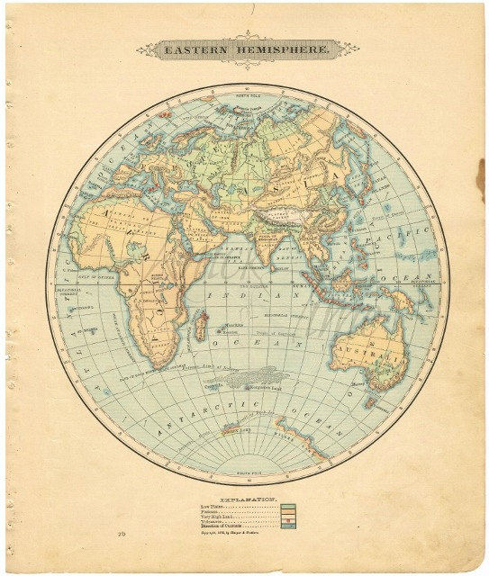 Antique World Map 1885 Eastern Hemisphere Digital Download By