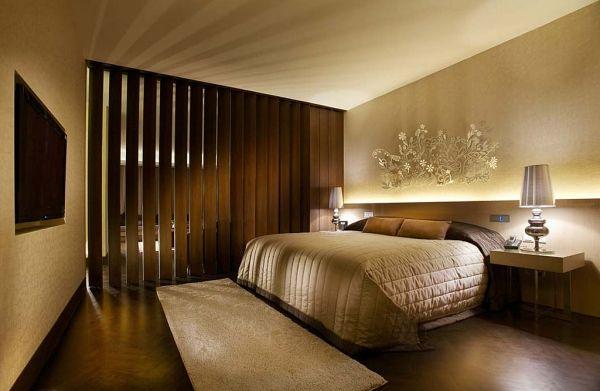 Hotelzimmer Design-Sonnenschutz Lamellen Holz Hotelzimmer - schlafzimmer asiatisch