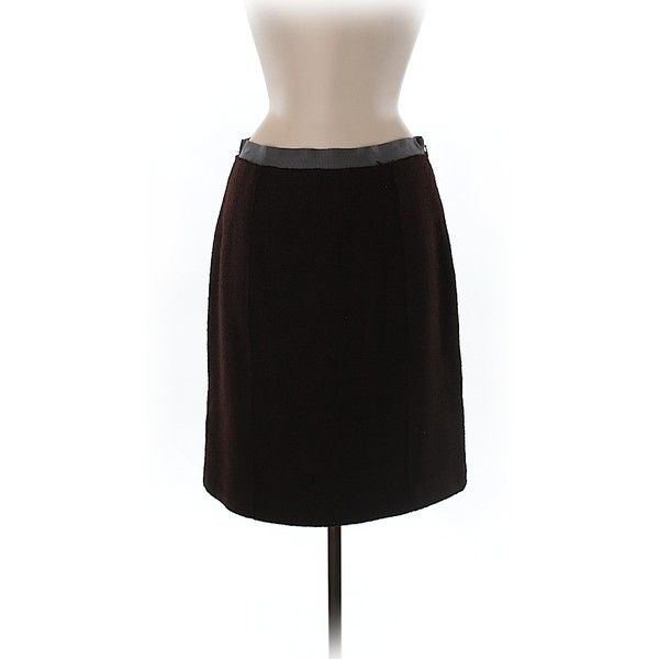 Pre-owned Milly Wool Skirt Size 8: Brown Women's Skirts ($46) ❤ liked on Polyvore featuring skirts, brown, milly skirt, brown wool skirt, brown knee length skirt, wool skirt and woolen skirt