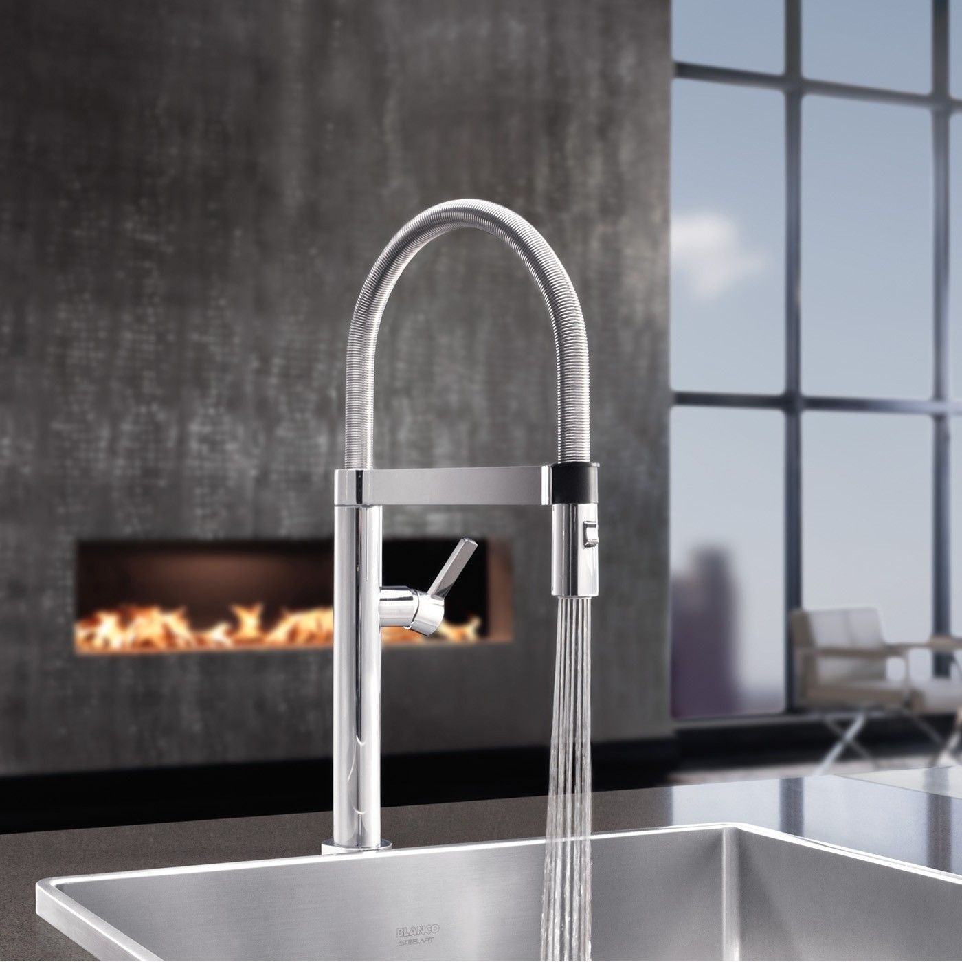 The Culina Mini Pull Down Kitchen Faucet offers refined