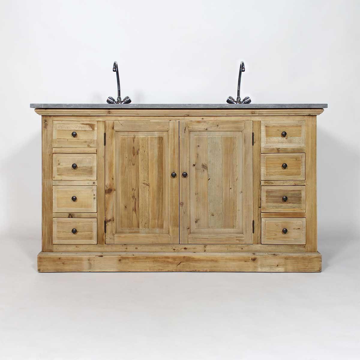 Meuble salle de bain en bois recyclé avec plateau en pierre