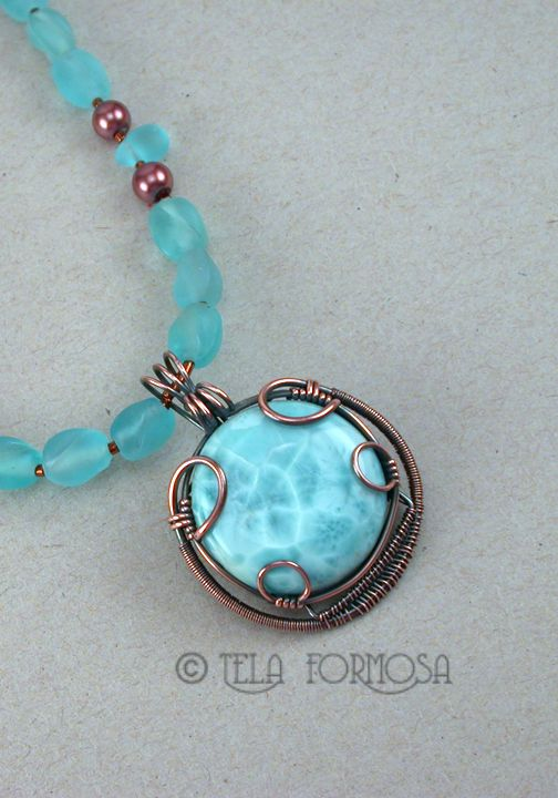 Larimar pendant wire wrapped by Tela Formosa.