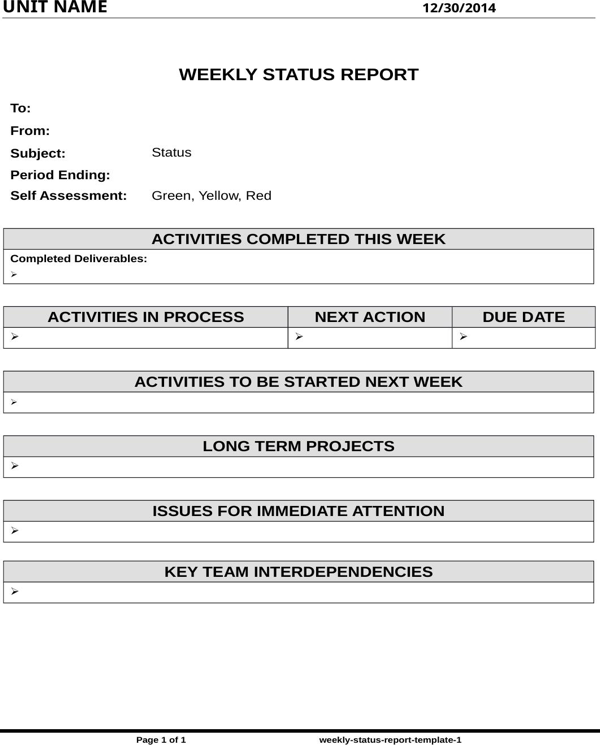 Weekly Status Report Template  CeS Vision Board