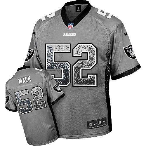 991660acf Nike Elite Khalil Mack Grey Men s Jersey - Oakland Raiders  52 NFL Drift  Fashion