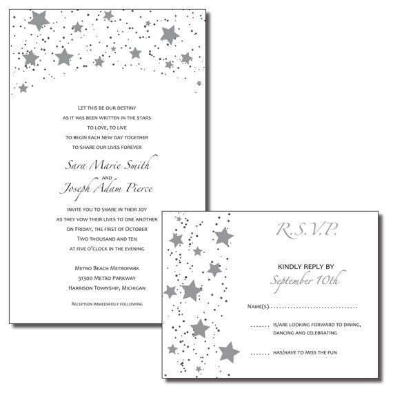 Print Your Own Wedding Invitations   Black And Silver Stars  Wish Upon A  Star Theme