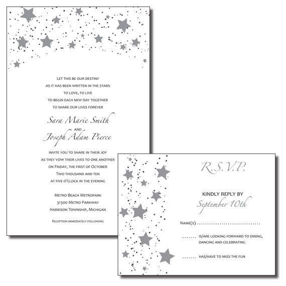 print your own wedding invitations - black and silver stars -wish, Wedding invitations