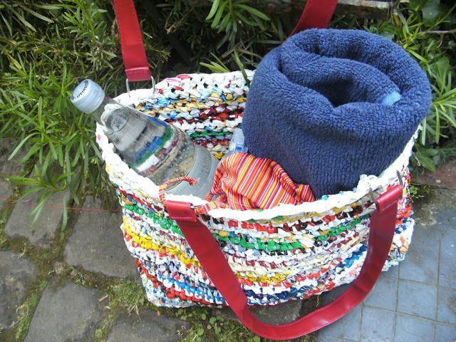 Badetasche Aus Gehäkelten Plastiktüten Basteln Plastik Tüten