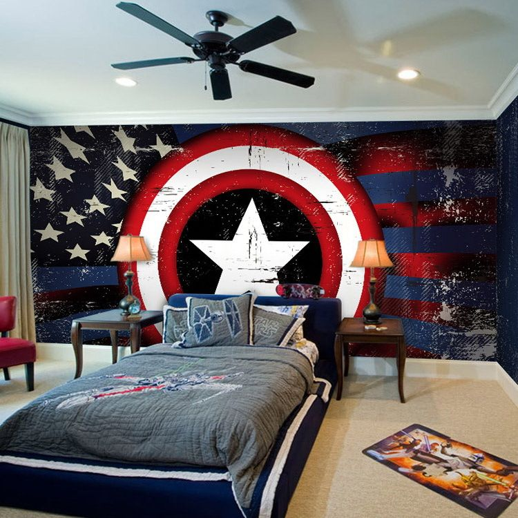 How Cute Is This Captain America Themed Room Credit To Kimberley - Avengers inspired home decor
