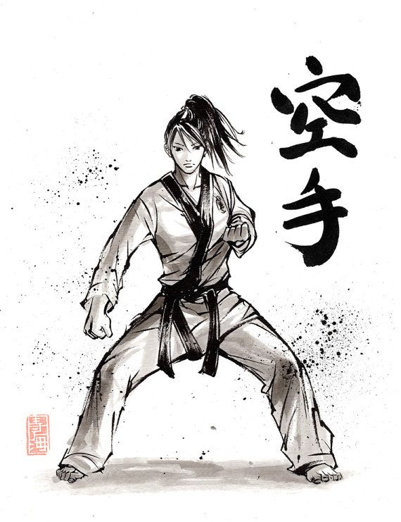 Print Karate Girl Japanese Calligraphy And Painting By Mycks Karate Girl Martial Arts Techniques Taekwondo Girl