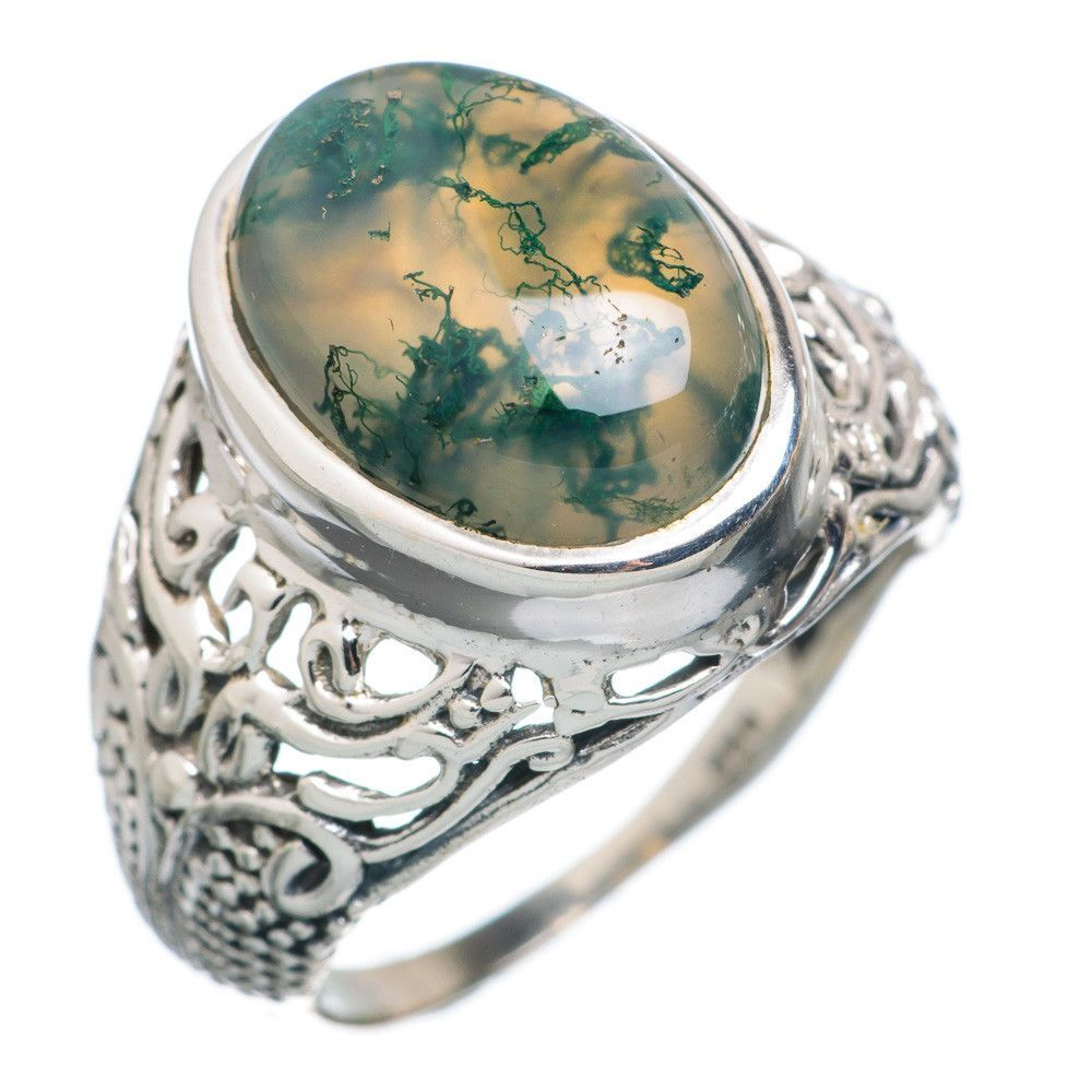 Green Moss Agate 925 Sterling Silver Ring Size 7.25 RING726355