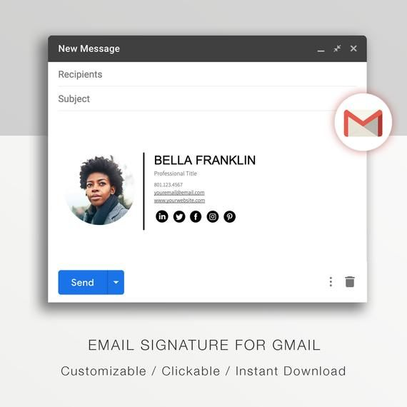 Gmail Email Signature Template A Modern Email Signature Etsy In 2021 Email Signature Design Email Signature Templates Email Signature