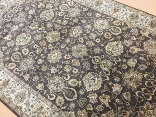 6-X-9-Brown-Beige-Agra-Persian-Oriental-Area-Rug-Hand-Knotted-All-Over-Floral