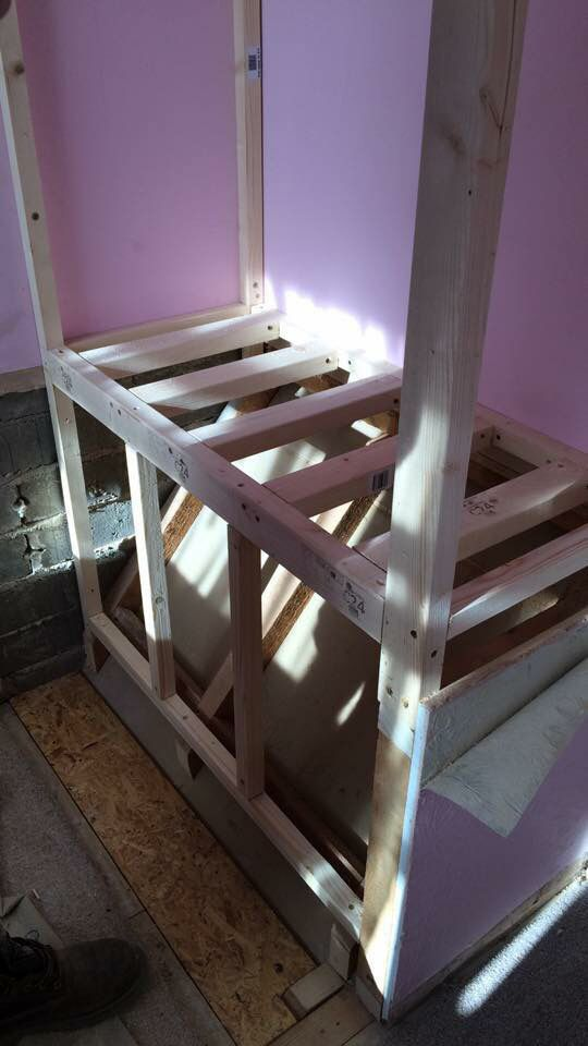 Bed Over Stair Box With Storage And Stairs: Step 5: Reinforcing The Floor And Frame.