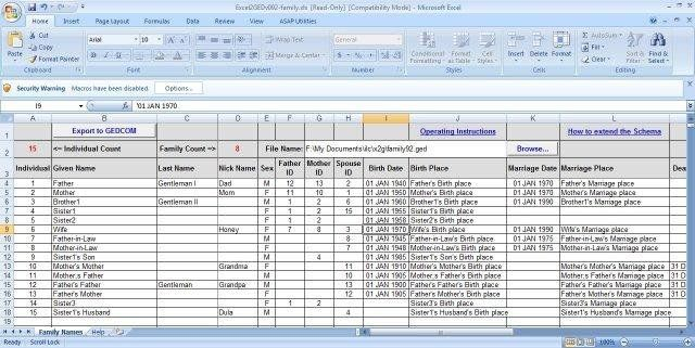 Download Excel2GED For Free Excel Genealogy Sprdsht W Macro For Converting Data To Gedcom