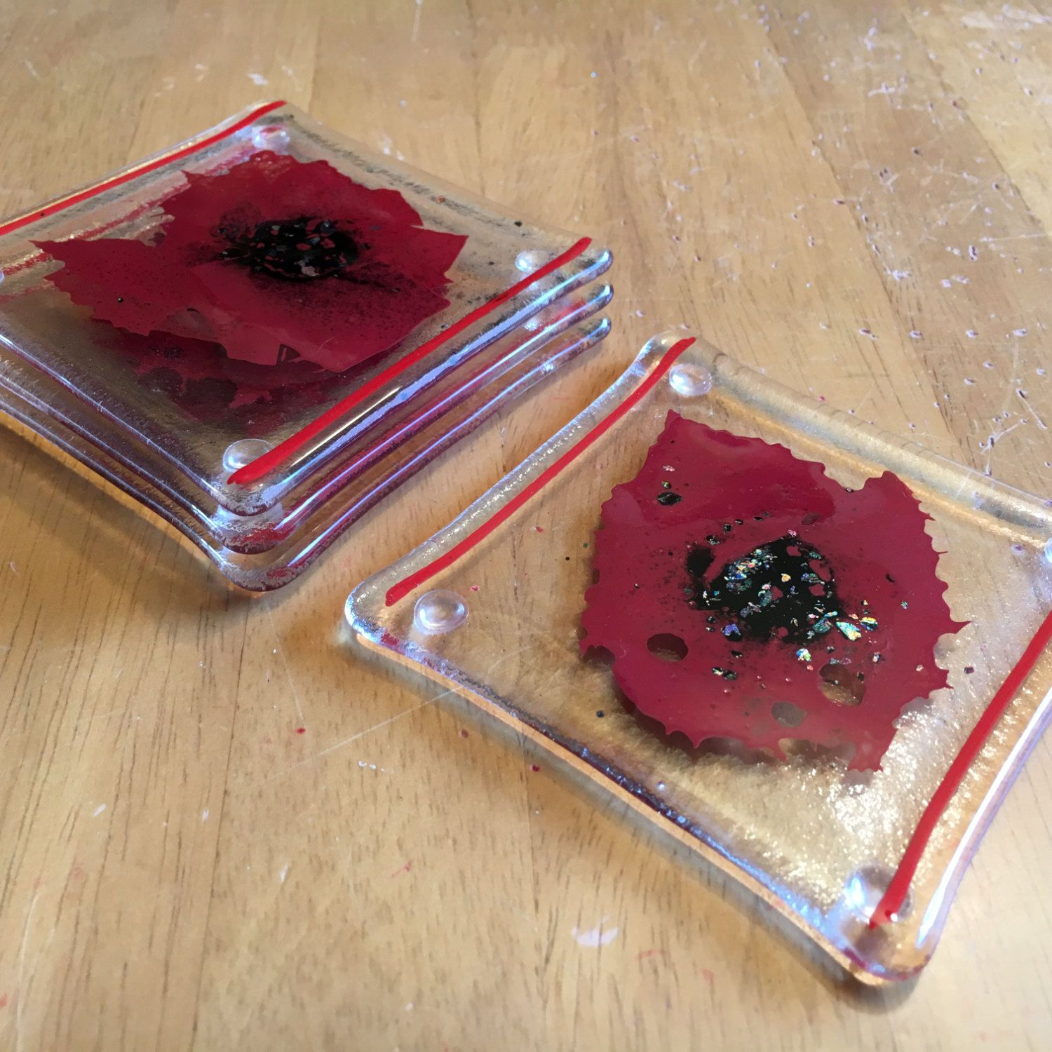 4 Poppy Themed Handfused Glass Coasters by CraftySewnSew123 on Etsy