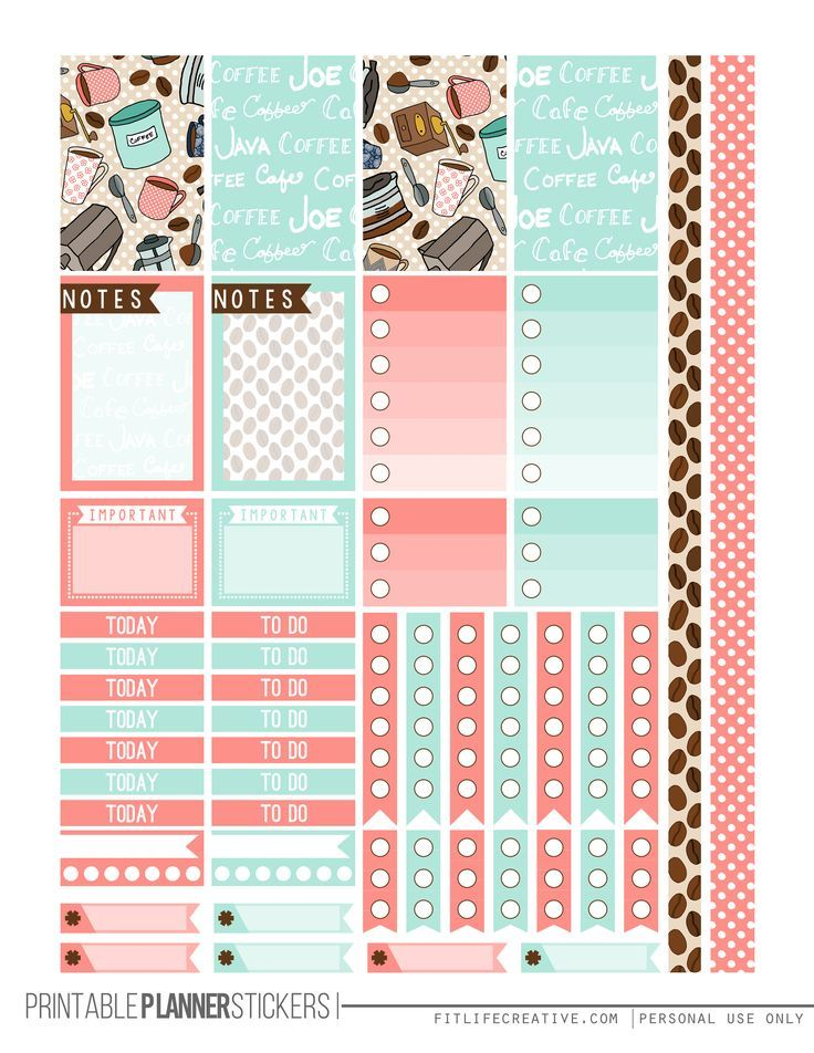 But First Coffee Free Printable Planner stickers for the classic size Happy Planner. Includes 2 full pages of planner stickers.