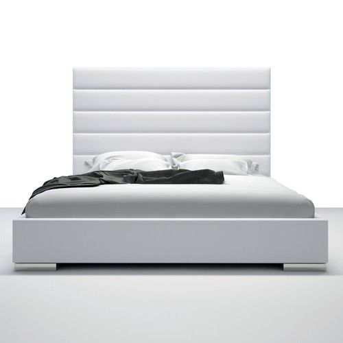 The Striking Prince Bed Features A Tall Natural Eco Leather Headboard With  Horizontal Striped Tufting.