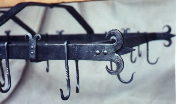 Pot Hangers Wrought Iron Rack 2ft By 3ft With 24 Hooks And Stainless Mesh