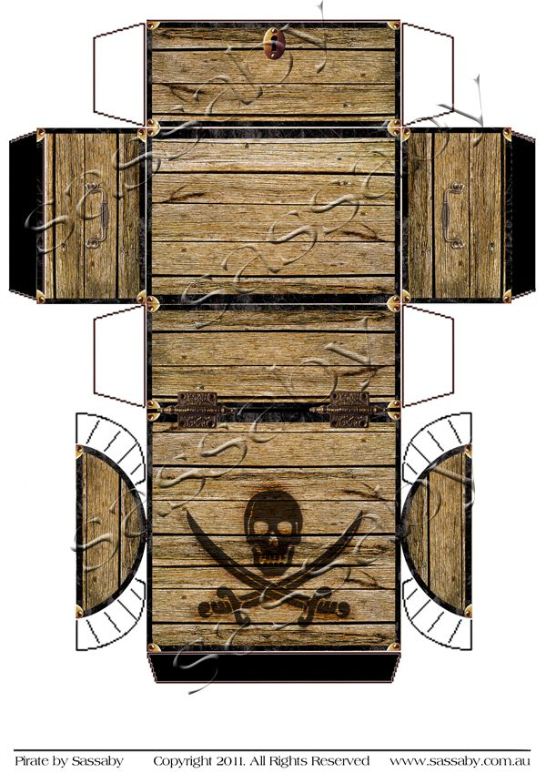 Pirate treasure chest box pirate treasure chest pirate for Diy will template