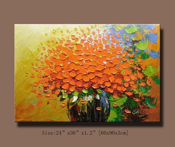 "Abstract Floral Original Modern Handmade Oil Painting on Canvas 36/"" x 30/"""