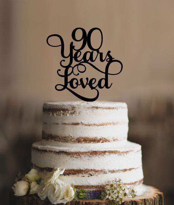 90 Years Loved Classy Script 90th Birthday Cake Topper Elegant Ninetieth