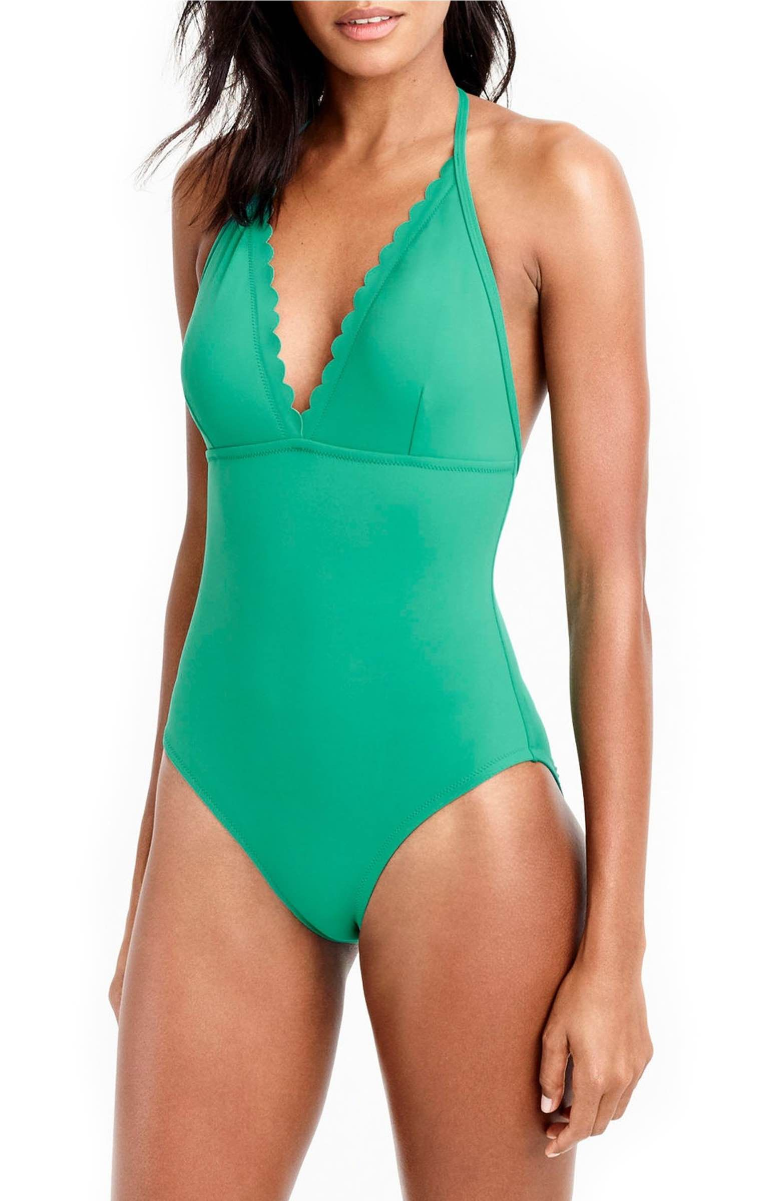 681c26d4b6b Free shipping and returns on J.Crew Scallop One-Piece Swimsuit at Nordstrom.com.  This cute one-piece is crafted of a soft, stretchy matte fabric made in ...
