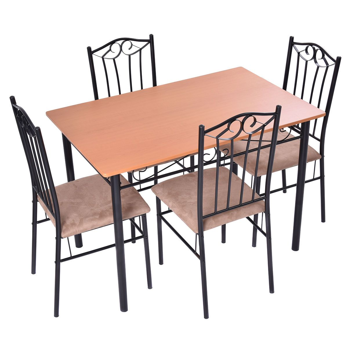 5 pc dining set wood metal table and 4 chairs kitchen breakfast rh pinterest com
