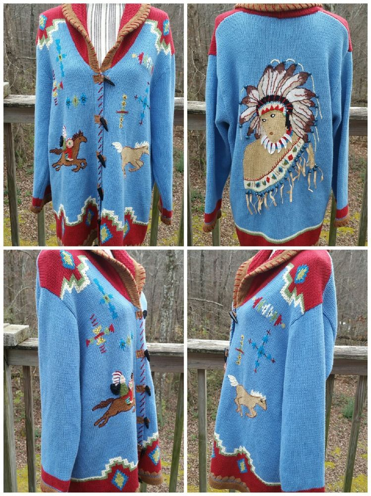 Story Book Knits Heavy Knit Ls Cardigan Indians And Horses Aztec