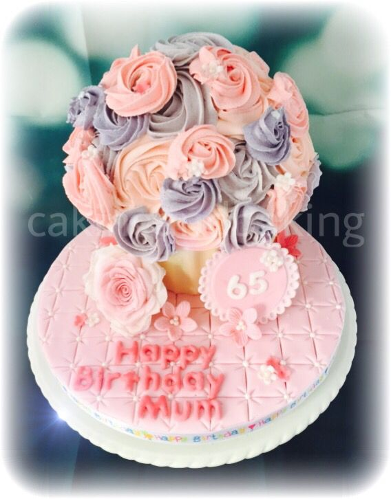 Giant Cupcake 65th Birthday Cake For Mum Diabetic Recipe Cakes
