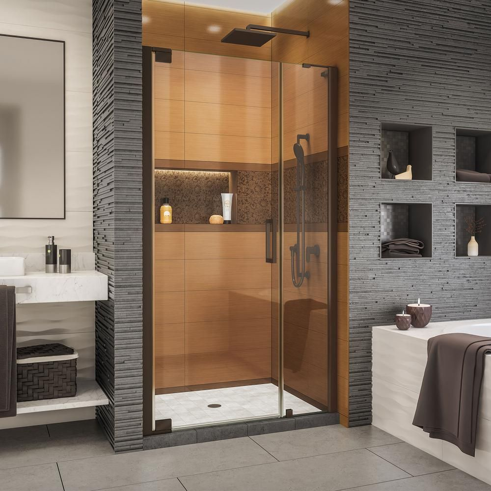 Dreamline Elegance Ls 40 1 2 In To 42 1 2 In W X 72 In H Frameless Pivot Shower Door In Chrome Shower Doors Bathroom Shower Doors Black Shower