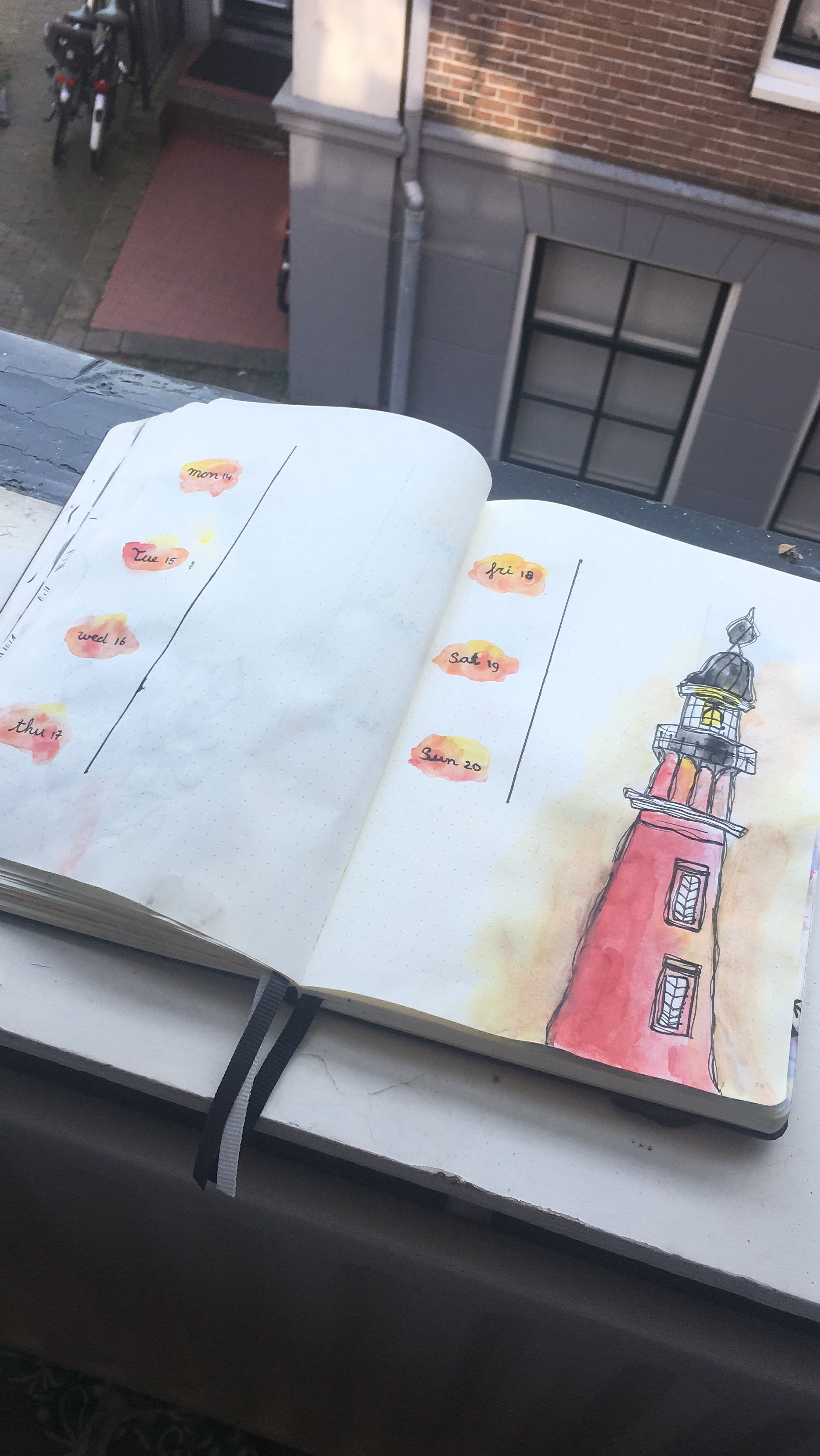 Lighthouse Made With Watercolor Bullet Journal Weekly Spread