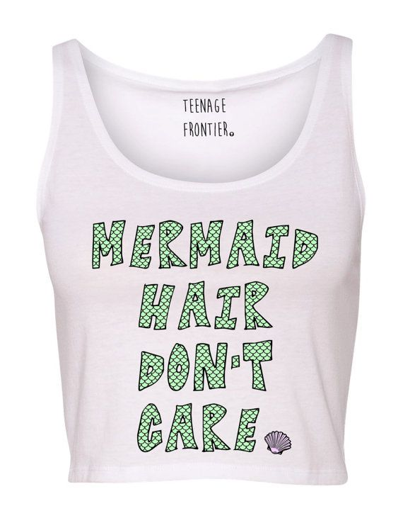 Our Mermaid Hair Dont Care design printed on a cotton-poly blend tank crop top for that soft buttery vintage feel!    Sizes available: XS/SM &