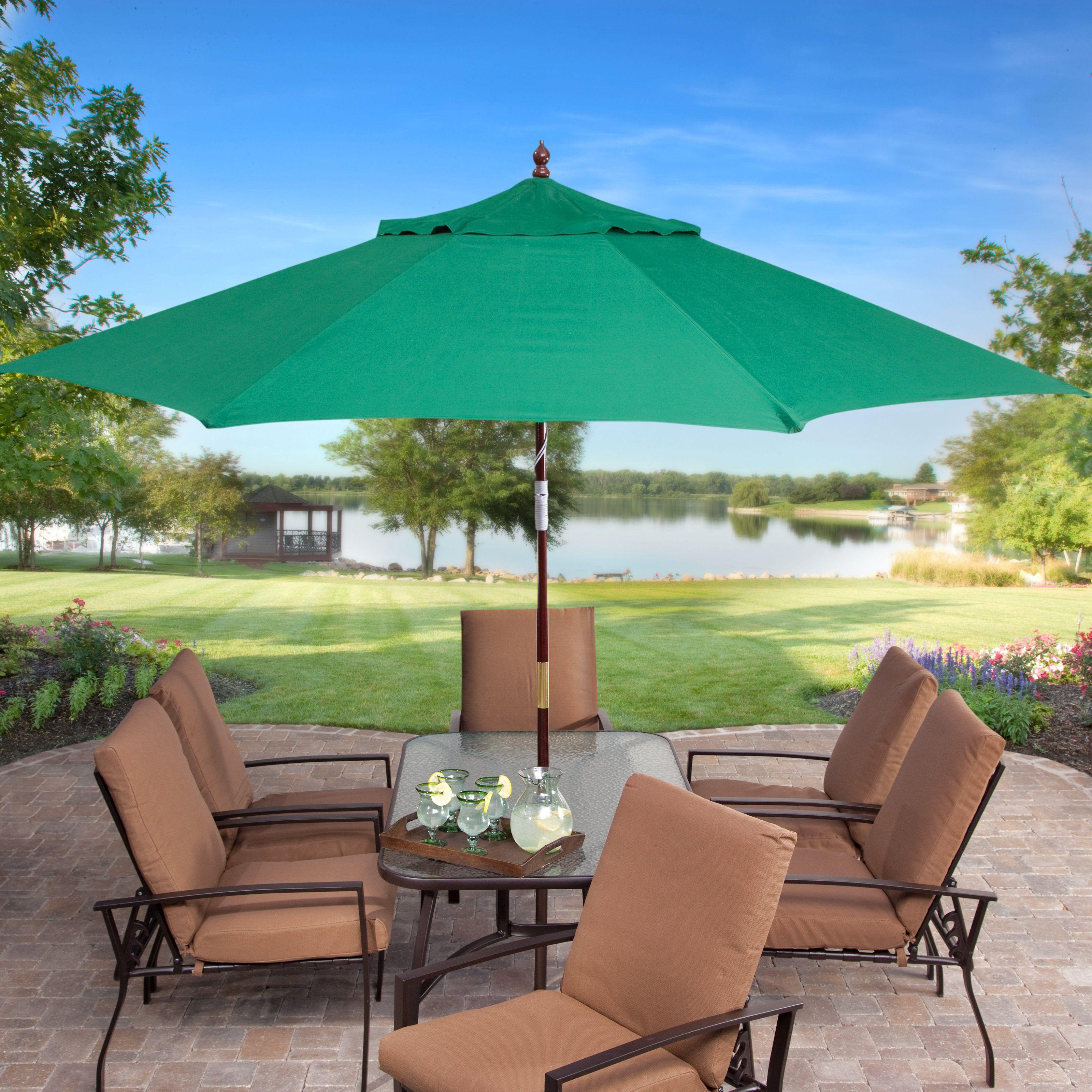 Key Largo 11 Ft Wood Market Umbrella Www Hayneedle Com Patio Commercial Outdoor Furniture Backyard Shade