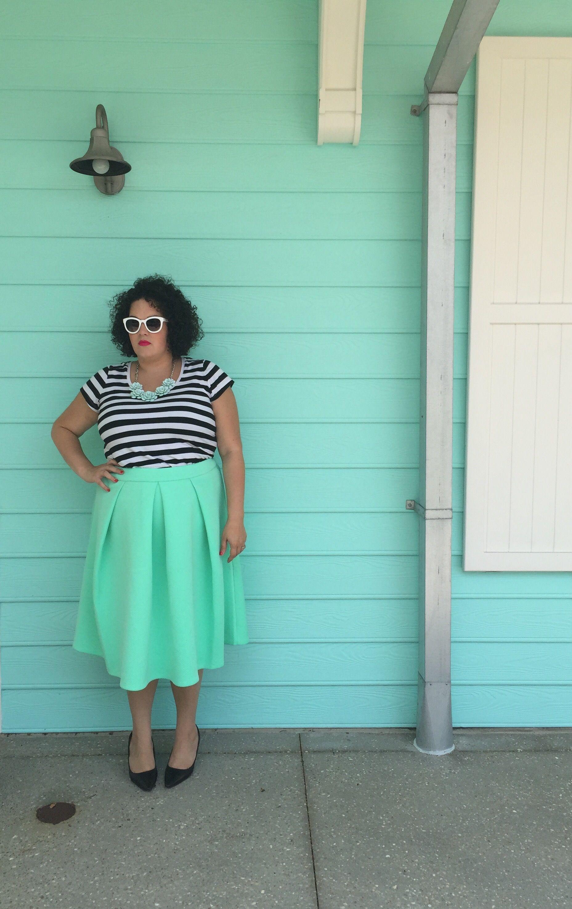 Sunday Style: Stripes Edition | beauty & the butcher Eloquii plus size midi skirt
