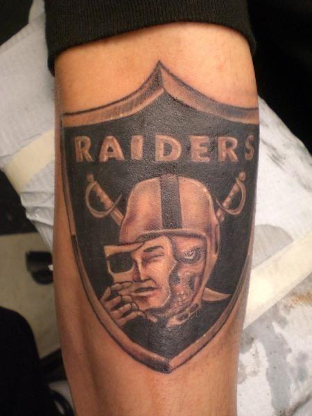 Raider tattoo on arm in black and gray random tattooz by for Raider nation tattoos