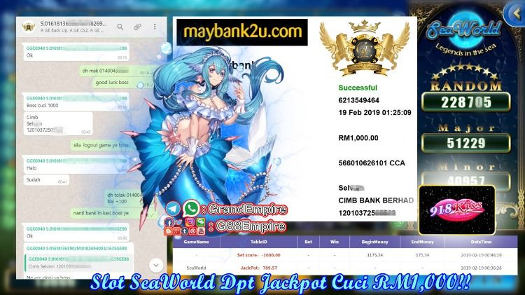Grand Empire Whatsapp 918kiss SeaWorld Member Dpt Jackpot bernial RM789 Akhirnya Minta Cuci RM1,000…