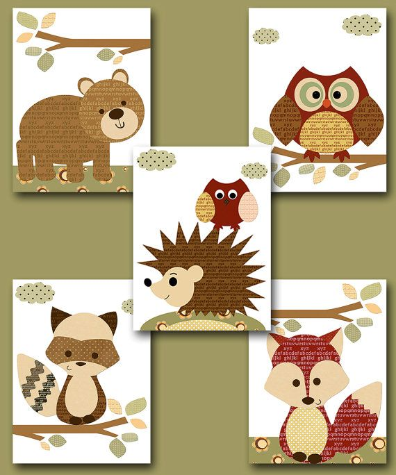 "Fox Nursery Owl Nursery Baby Boy Nursery Art Nursery wall art baby nursery kids room decor Kids Art Boy Print set of 5 8""x10"" red brown bear"