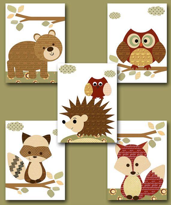 "Fox Nursery Owl Nursery Baby Boy Nursery Art Nursery wall art baby nursery kids room decor Kids Art Boy Print set of 5 8""x10"" red brown bear"