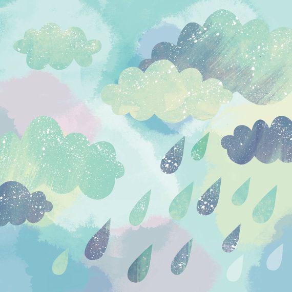 Candy Skies // Square 21x21cm art print van essillustration op Etsy