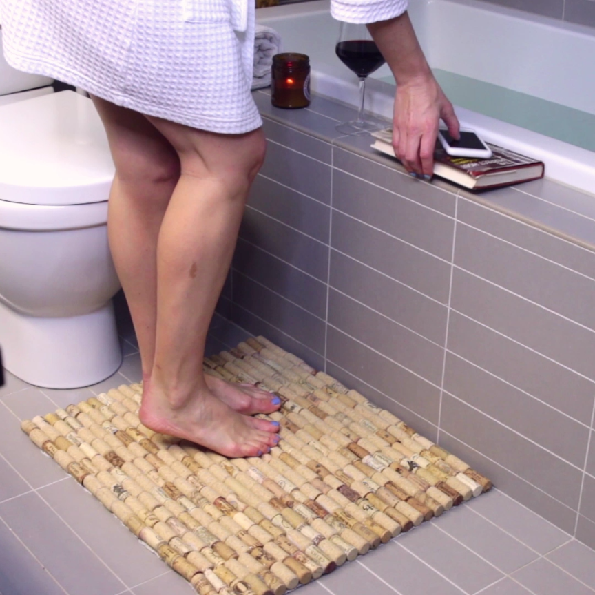 This cushy cork bathmat is a great excuse to drink more wine.