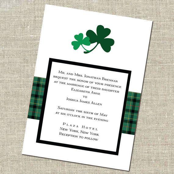 double shamrock irish wedding invitation meghan and kyle