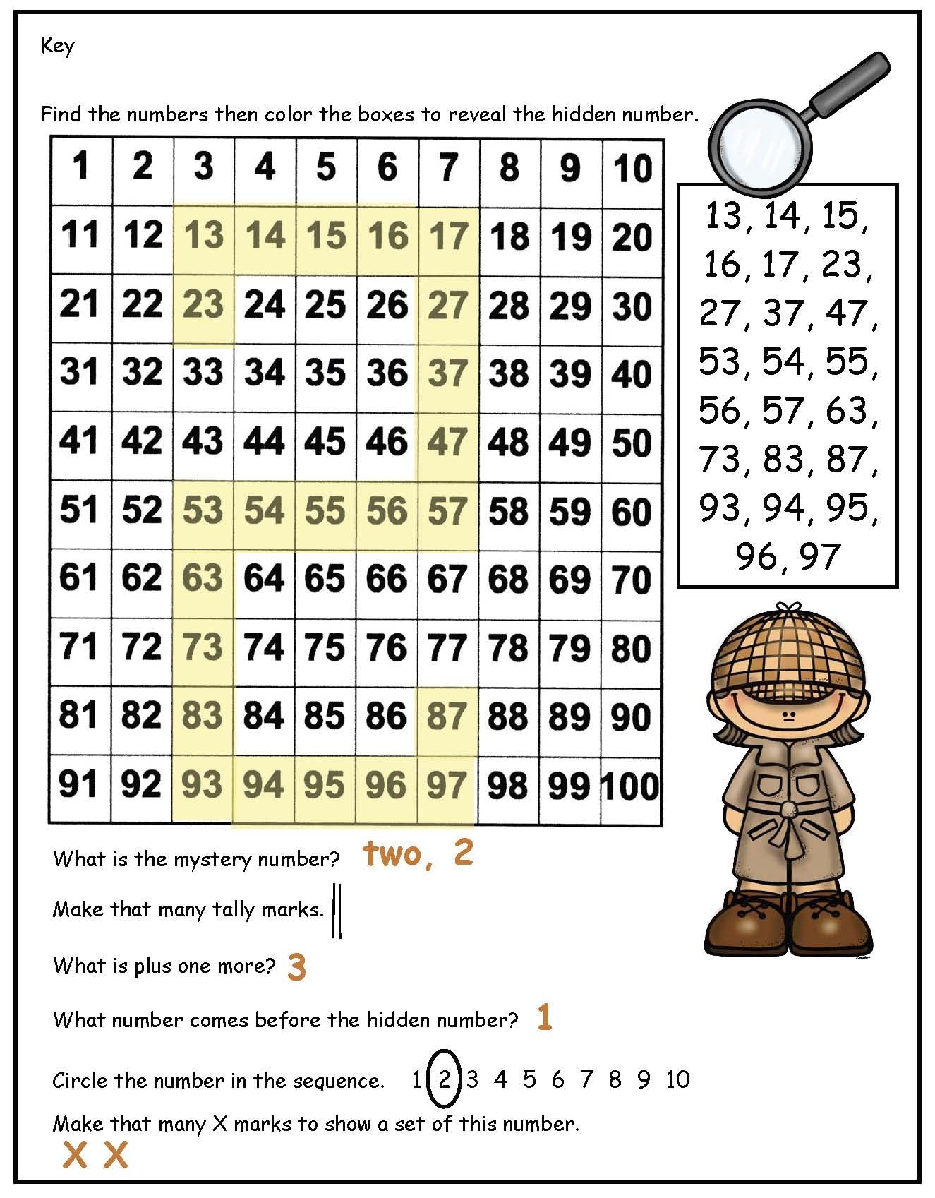 Hidden Numbers In A 100s Chart Number Recognition Worksheets Math Centers Math Activities [ 1697 x 1325 Pixel ]